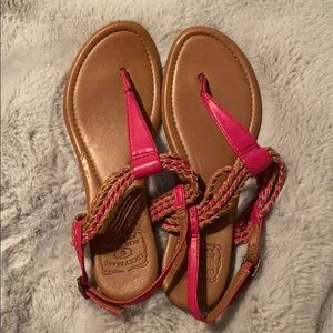 Pink and tan Lucky Brand sandals
